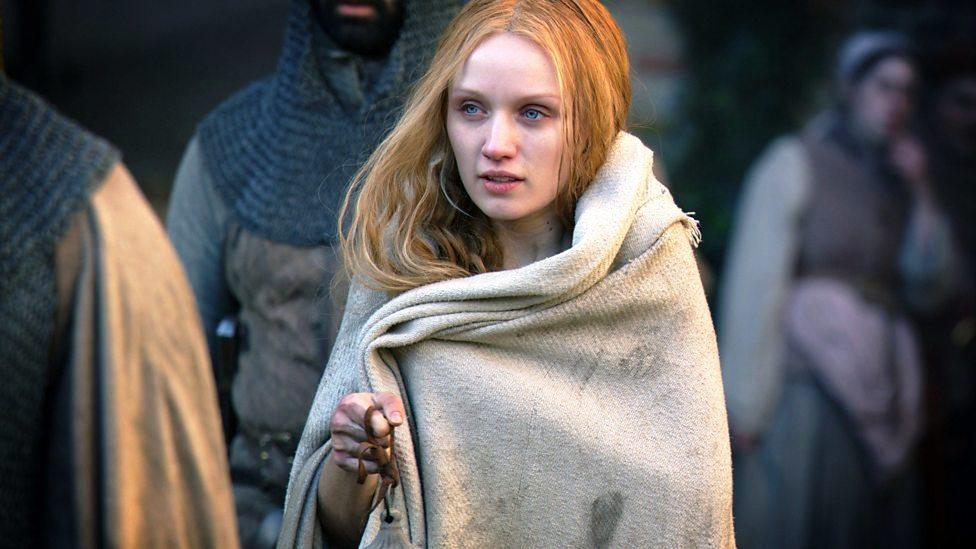 Jane Shore, após cumprir a penitência, cansada e enrolada em um cobertor