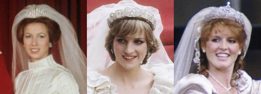 As três princesas estão sorrindo em fotos coloridas ostentando as três tiaras de diamante.