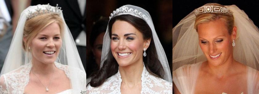As três noivas estão sorrindo. Autumn e Kate estão olhando para a câmera e Zara para baixo.