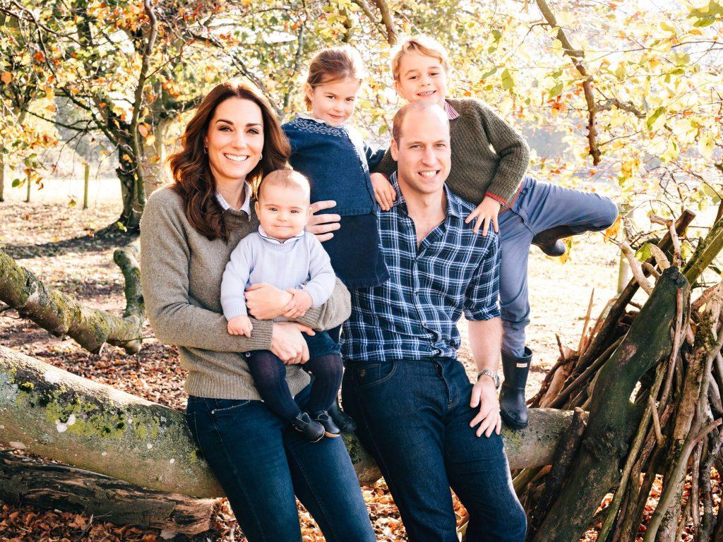 A família Cambridge está em um tronco de árvore. William e Kate estão sentados, Louis está no colo de Kate, enquanto Charlotte e George estão em pé, apoiados um de cada lado do Príncipe William. O ambiente está cheio de folhas secas: tanto nas árvores, quanto no chão. Todos estão usando roupas de outono.