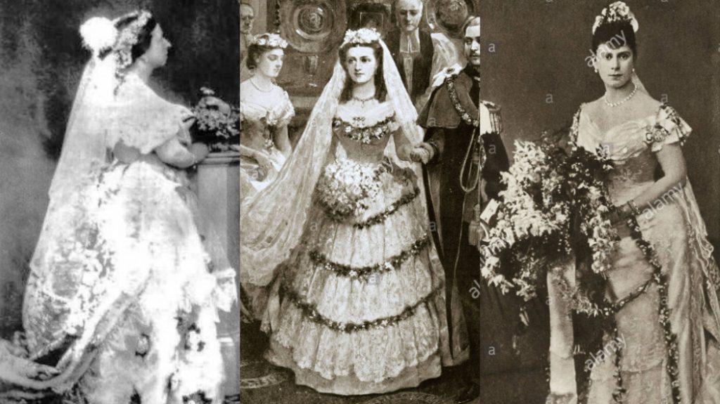 A rainha Victoria não está carregando um buquê, apenas um arranjo simbólico, de depois do casamento. As Rainhas Alexandra e Mary carregam os buquês. O de Alexandra é simples e pequeno e o de Mary cobre metade da saia do vestido.